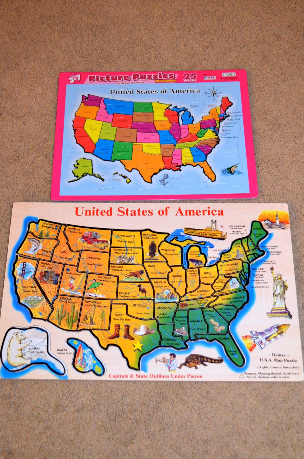 we also talked about the united states and did some puzzles malia is working on memorizing a song that i learned in 4th grade that puts the states in