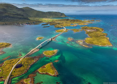 Fredvang bridges, Flakstad, Nordland county, Norway, Bridge, Construction, Transport, Road, River, Nature, Architecture, Business, Offbeat,