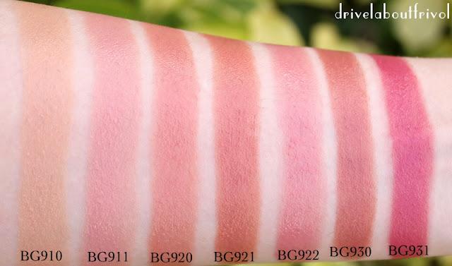lipstick swatch Shu Uemura BG910, BG911, BG920, BG921, BG922, BG930, BG931, BG 910, BG 911, BG 920, BG 921, BG 922, BG 930, BG 931