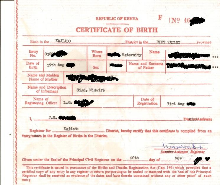 beautiful birth certificate in kenya illustration online