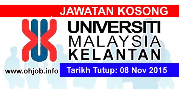 Jawatan Kerja Kosong Universiti Malaysia Kelantan (UMK) logo www.ohjob.info november 2015