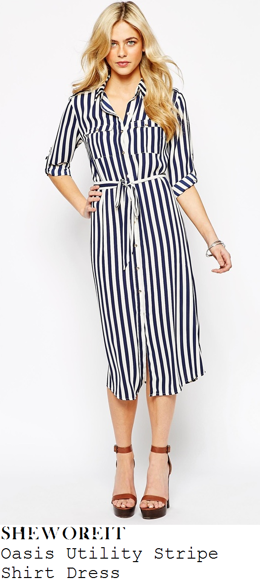 sam-faiers-navy-white-stripe-shirt-midi-dress-shoe-launch