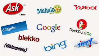 Search engines google, dogpile, mahalo, bing, yahoo, duckduckgo, ask, yippy, and webopedia