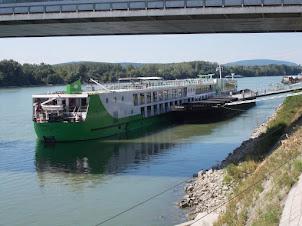Shipping traffic on the Danube river passing through Bratislava.