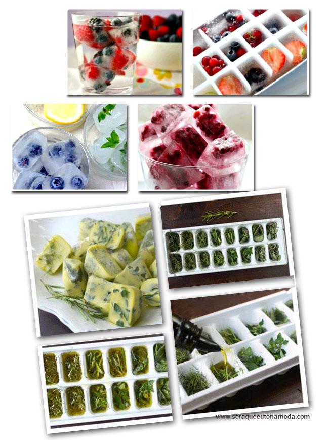 Cubos de gelo decorativos Frutas e ervas