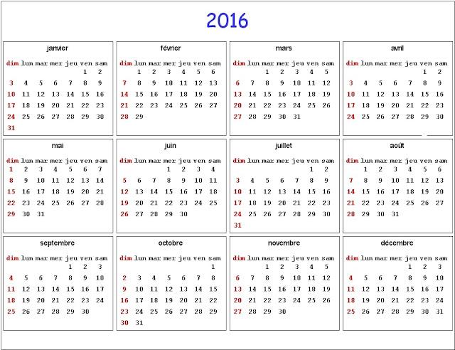2016 imprimable Calendrier, 2016 Calendrier mensuel avec Vacances ...