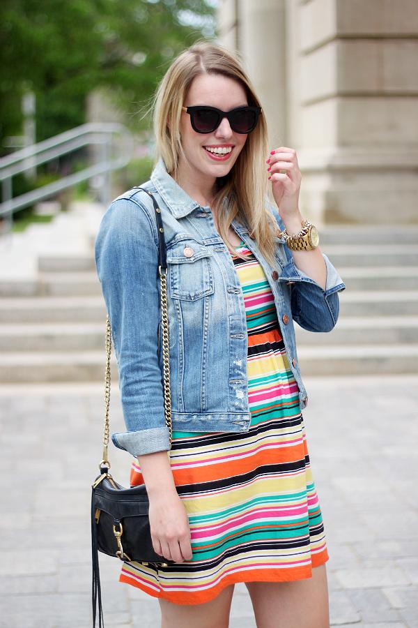 Fidelity Denim Jacket, Rebecca Minkoff Mini Mac Black, Colorful Striped Sun Dress