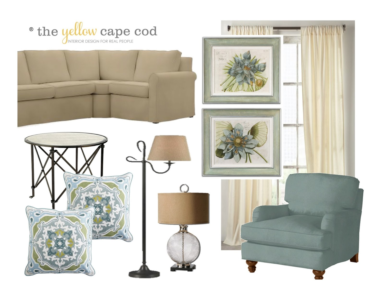 The yellow cape cod updated traditional two room design for The living room