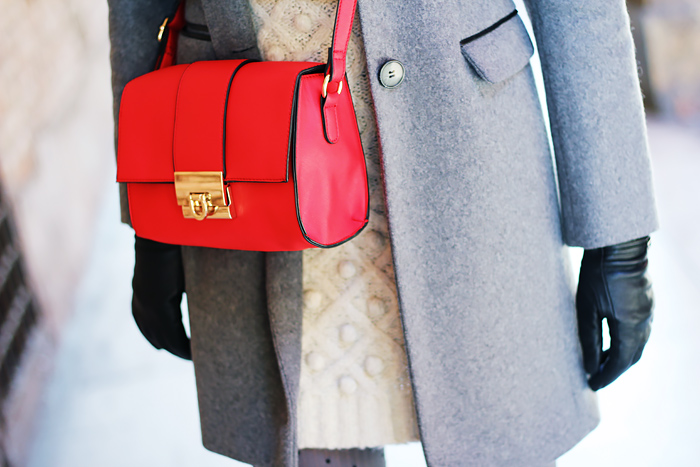 grey coat, red bag, winter outfit, fashion