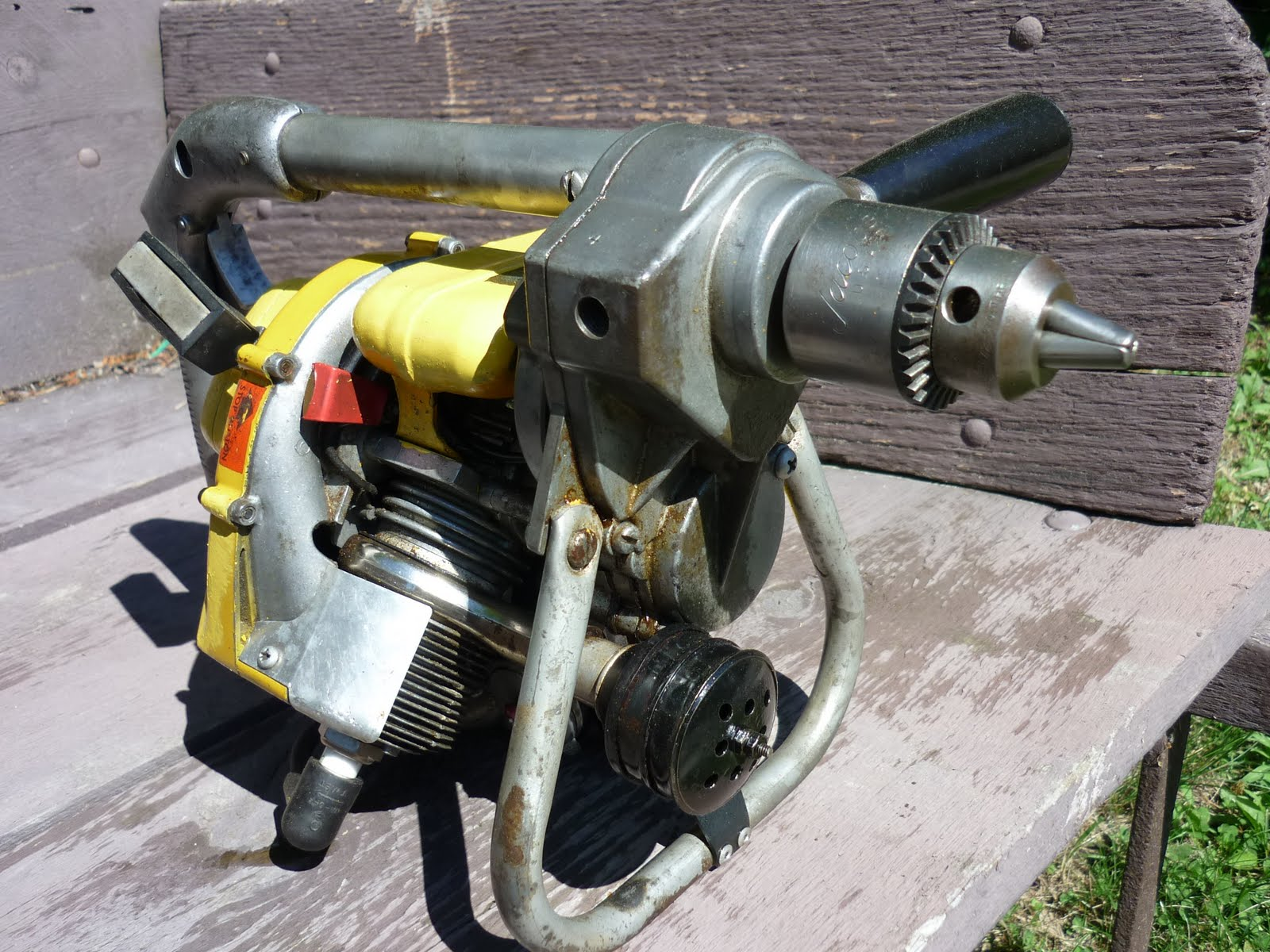 Vintage chainsaw collection ohlson rice engine mounted for Rice pump and motor