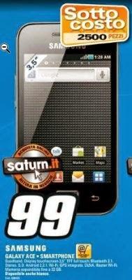 Il sottocosto di Saturn presenta il Galaxy Ace a 99 euro fino a metà ottobre 2013