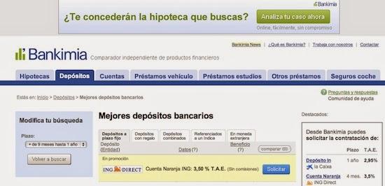 El comparador de productos bancarios, Bankimia