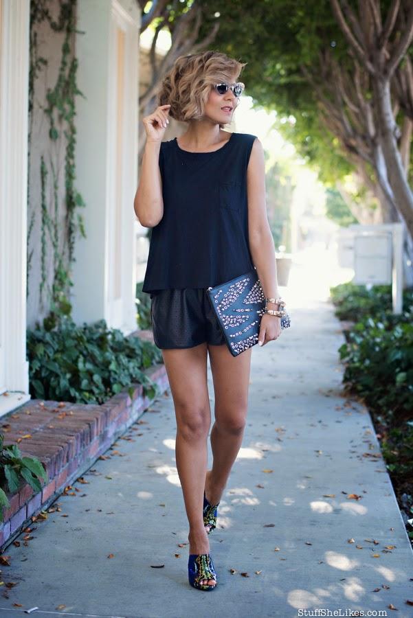 vegan leather shorts, micheal stars tee, studded clutch, cc skye, top ten fashion blogger, best fashion blogger, Los Angeles fashion blogger, Mules, shoe dazzle, miu mui sunglasses, clear sunglasses,