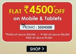 Snapdeal : Flat discounts on Mobiles || 4500 off on 50000, 1500 off on 20000, 500 off on 5000
