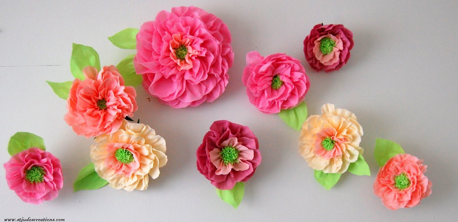 Pottery barn inspired wall paper flowers kids room decor for Flower decoration made of paper