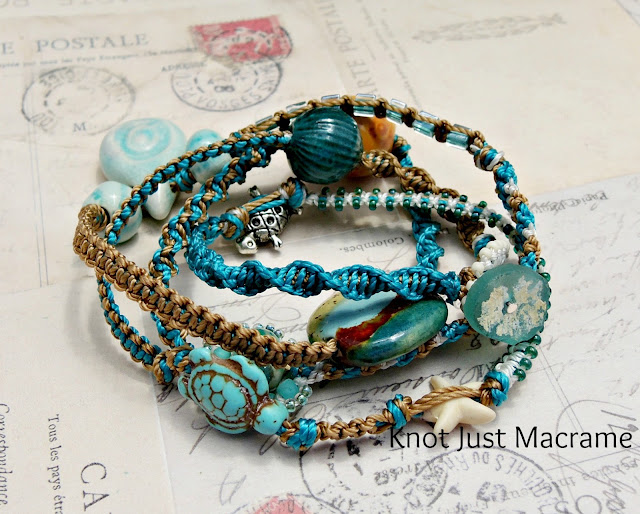 Artists beads on a micro macrame wrap bracelet by Knot Just Macrame