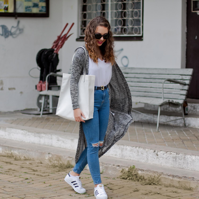 buty adidas superstar codzienna stylizacja