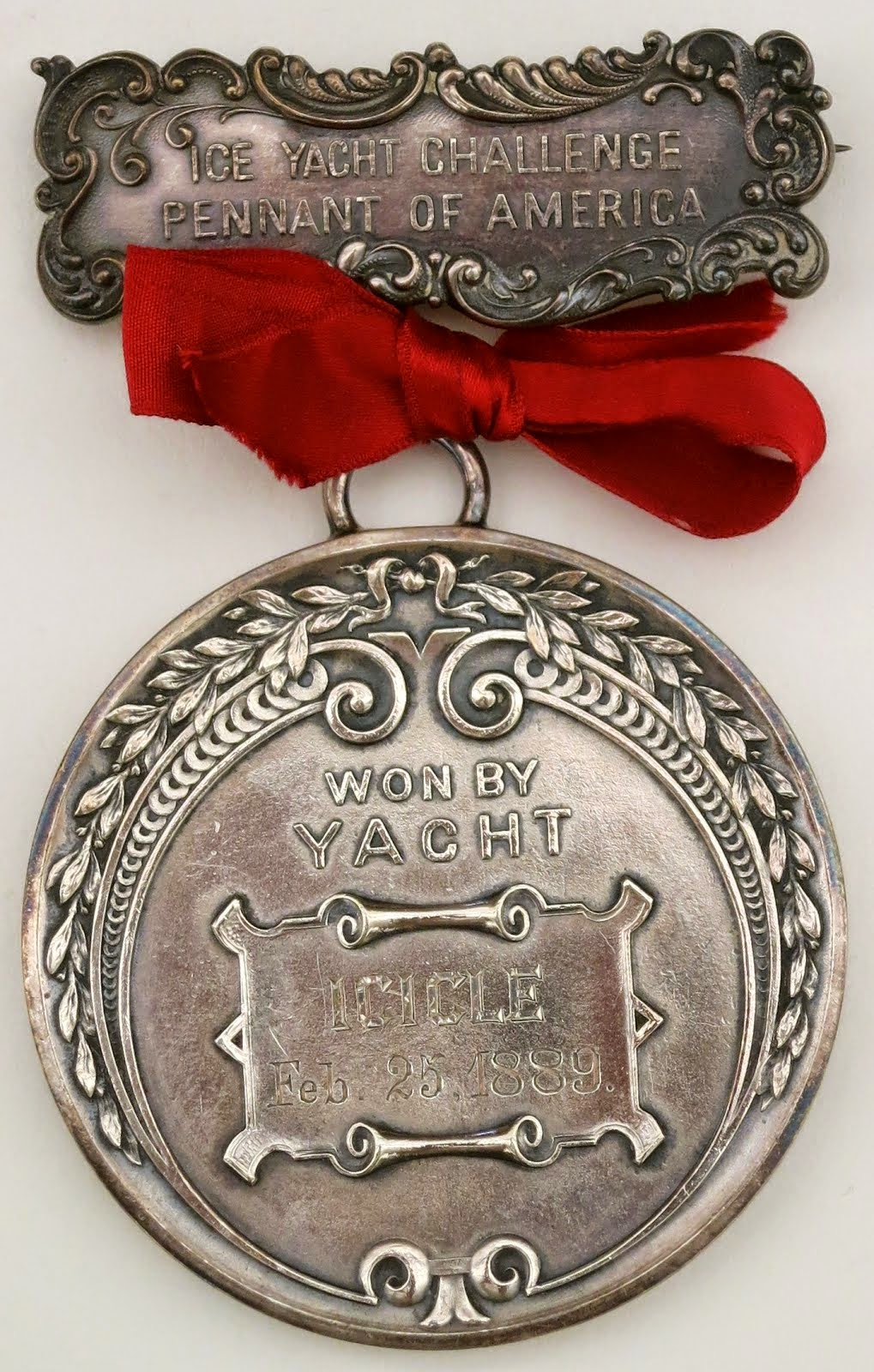 Ice Yacht Challenge Pennant Race medal 1889