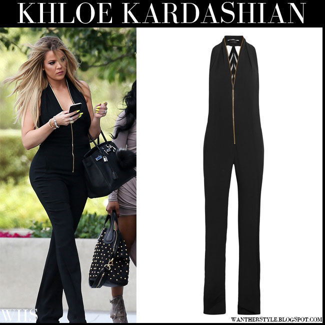 Khloe Kardashian in black sleeveless gold zip jumpsuit Roland Mouret Wera what she wore july 20