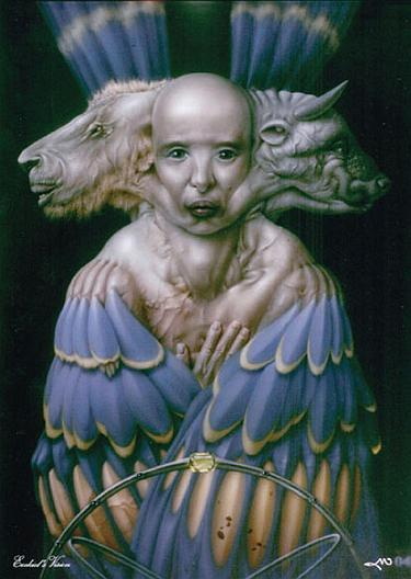 An artist s rendition of the cherub of ezekiel s vision