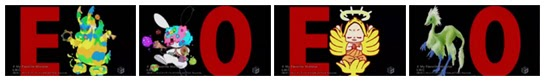 """E"", ""O"", ""E"", ""O"" in large red letters next to fan submitted monsters."