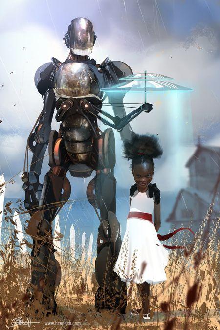 Brenoch Adams ilustrações fantasia ficção Robô-guarda