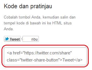 Cara Memasang Tombol Tweet Twitter di Blog