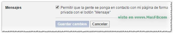 Habilitar mensajes privados en Página de Facebook - MasFb