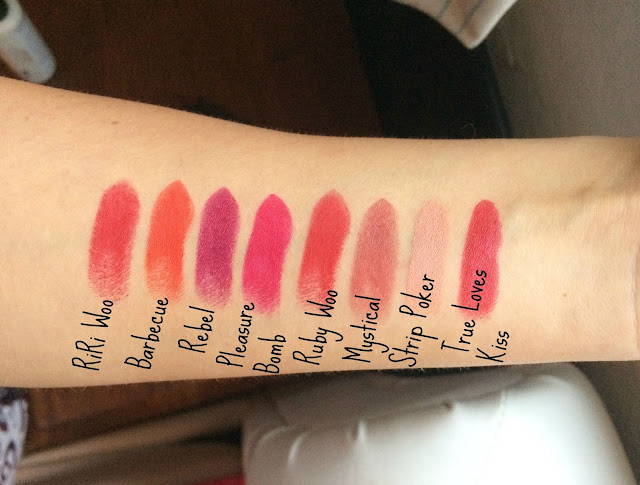 Mac Limited Edition Lipsticks Swatches - RiRi Mac, Mac Osbournes