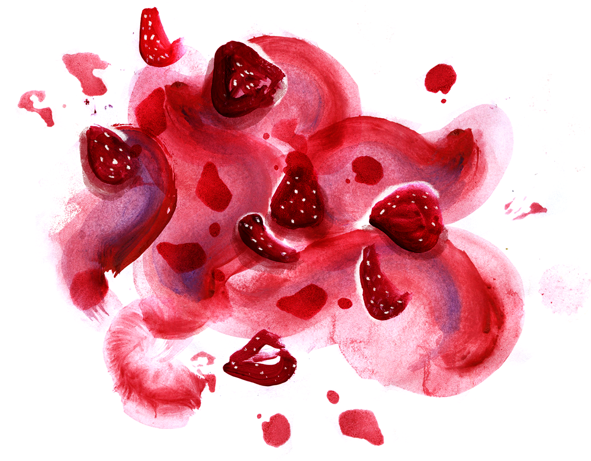 Strawberry Miso Ice Cream, lauren monaco illustration