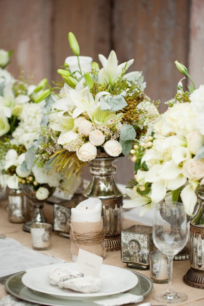 White Flowers For Wedding 44 Trend Mercury glass white flowers