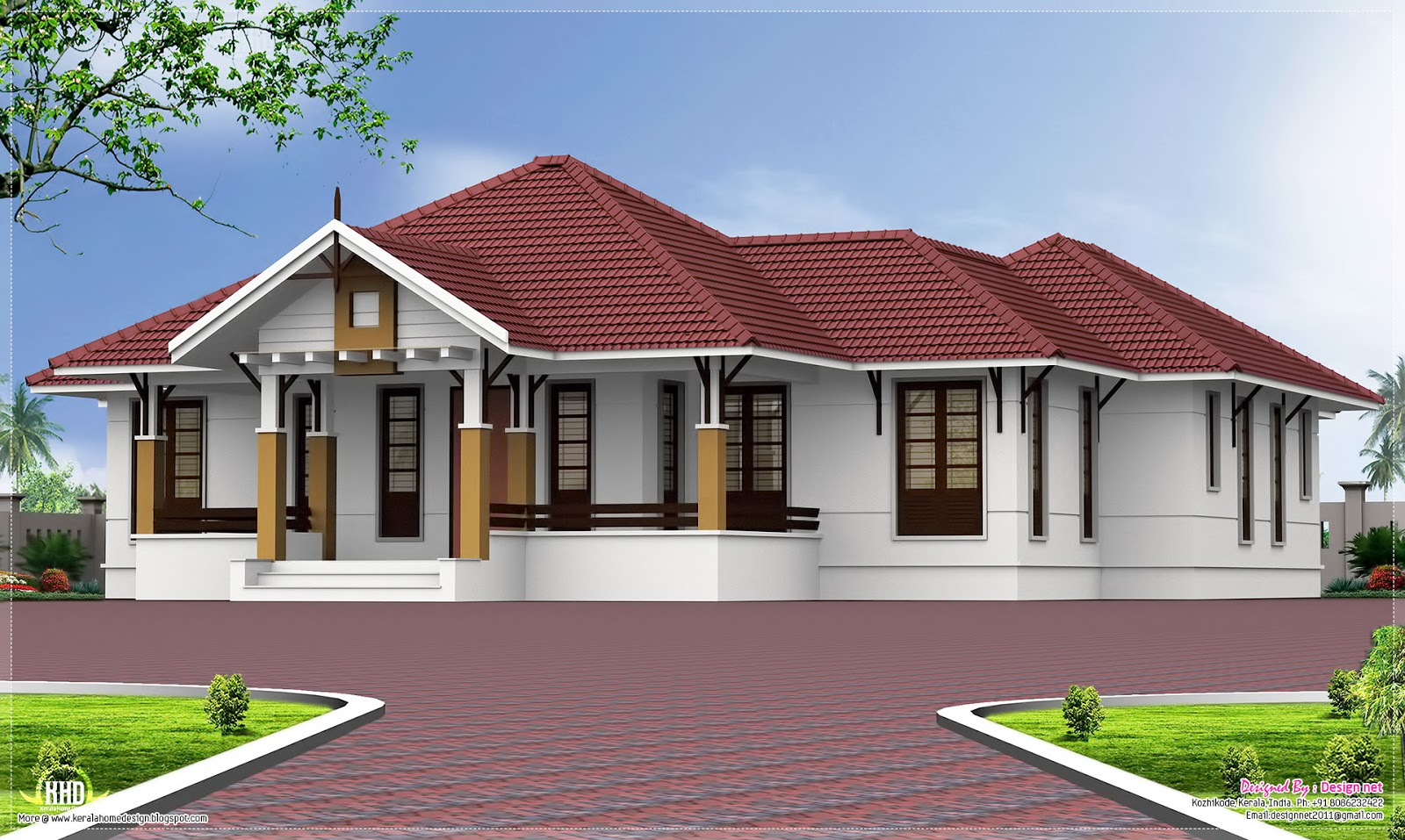 Single floor 4 bedroom home with courtyard kerala home for One level house designs