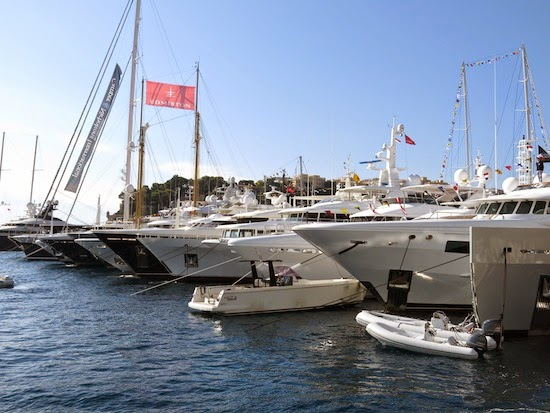 Yachts moored at the Monaco Yacht Show
