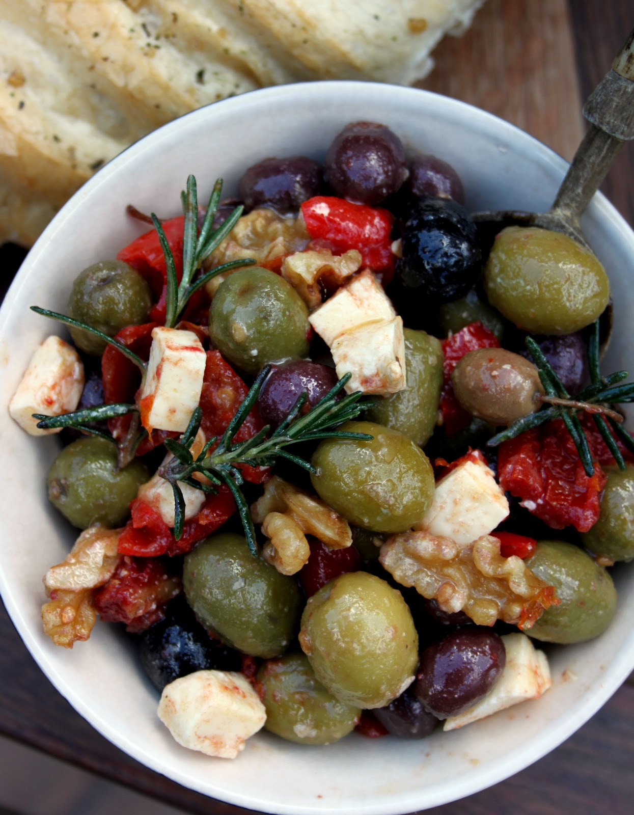 Olives Marinated In Pomegranate And Sage Recipe — Dishmaps