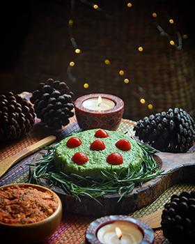 Um pesto de ervilha em clima de Natal