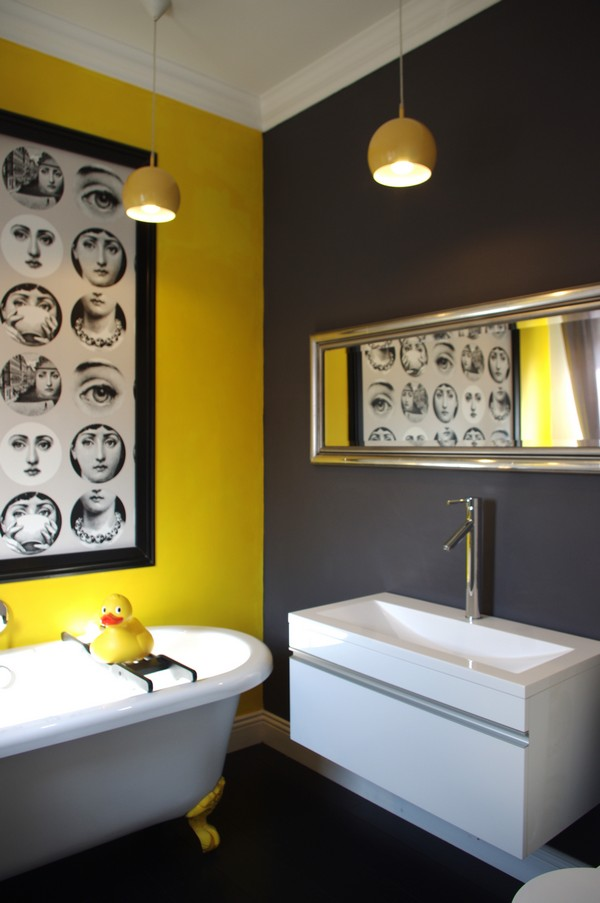 David dangerous grey grey and yellow grey interiors for Bathroom yellow paint