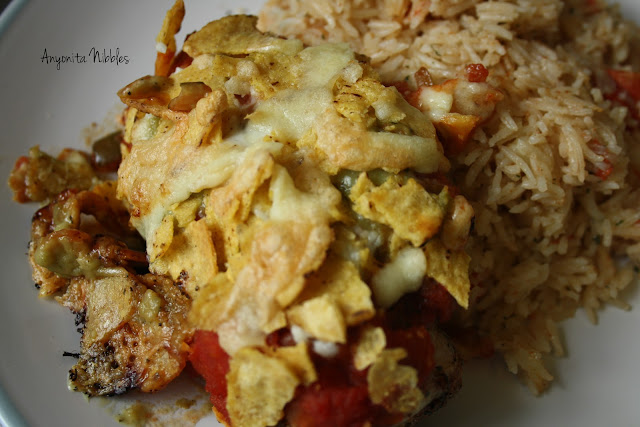A plate of ultimate nacho chicken and gringo rice with homemade taco seasoning