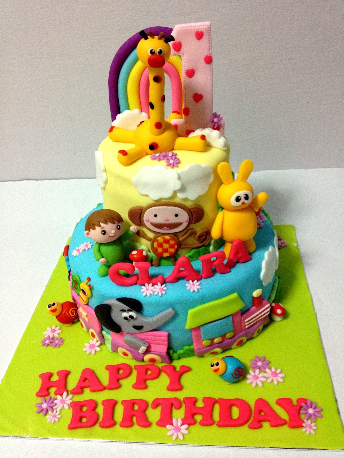 baby tv cake for clara s first birthday celebration happy birthday