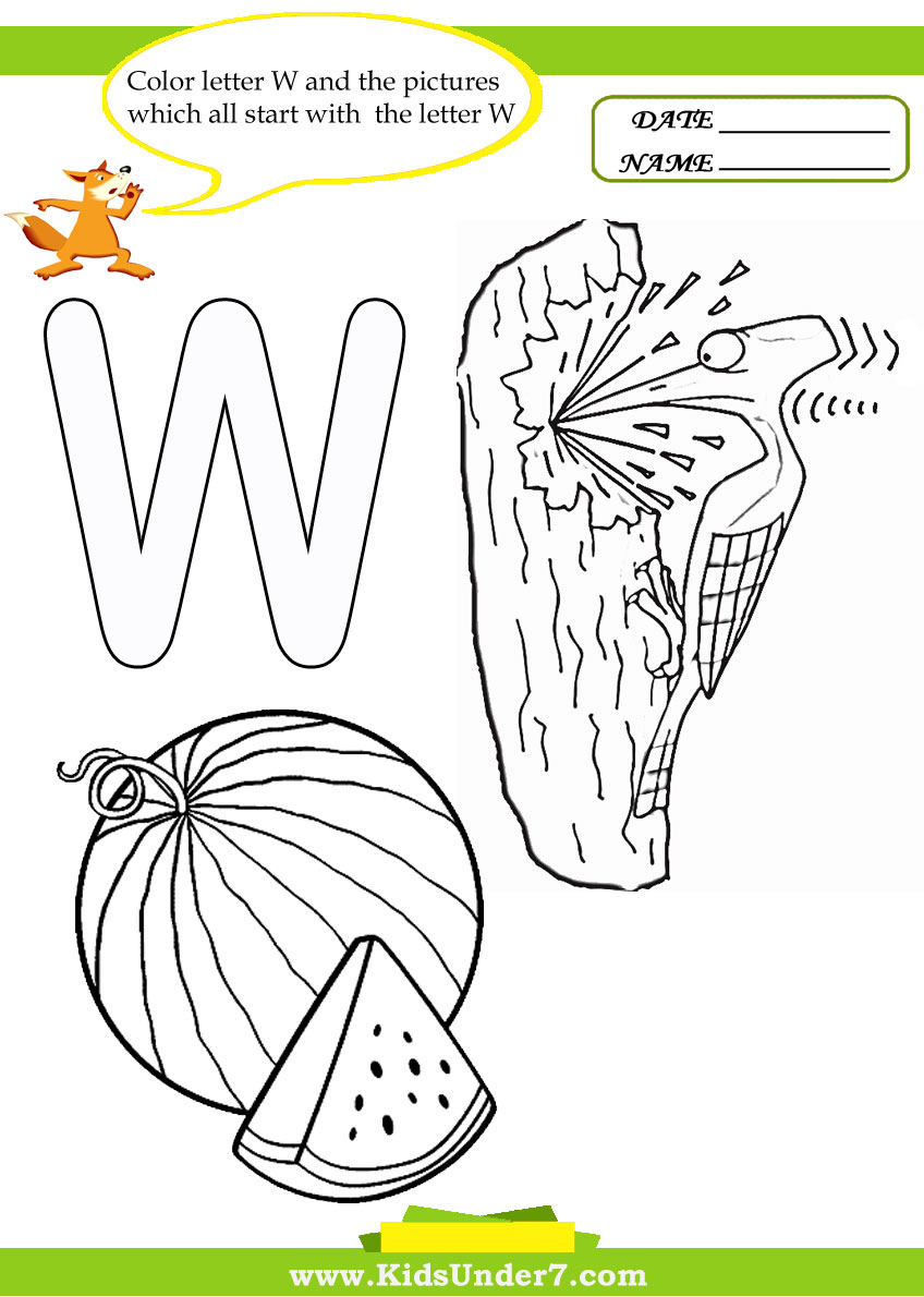 Kids Under 7 Letter W Worksheets and Coloring Pages – Letter W Worksheets