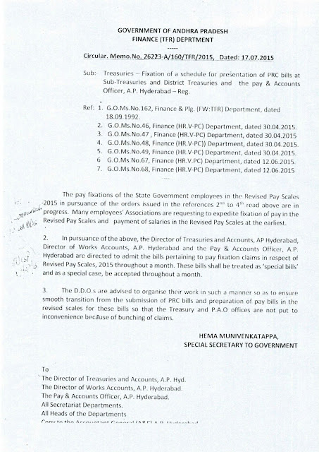 AP PRC Bills Submit Throughout a Month Treated as Special bills-PRC Memo 26223