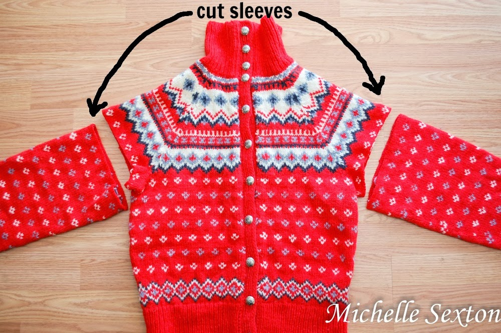 trim the sleeves of the sweater - upcycle a sweater