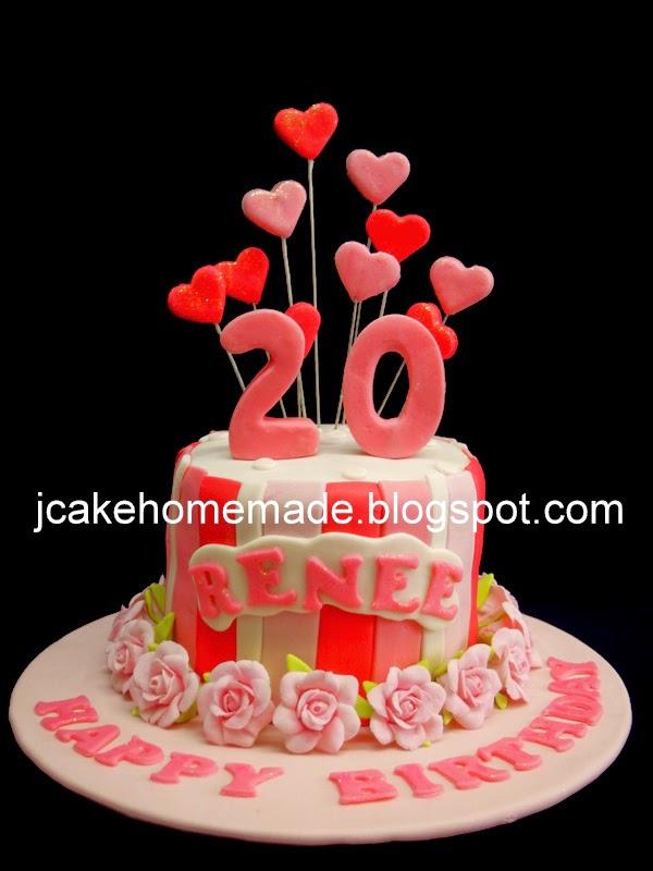 Roses Birthday Cake Happy 20th Renee