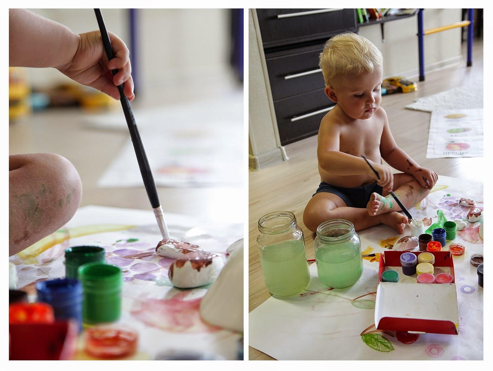 красками на камнях, детское творчество