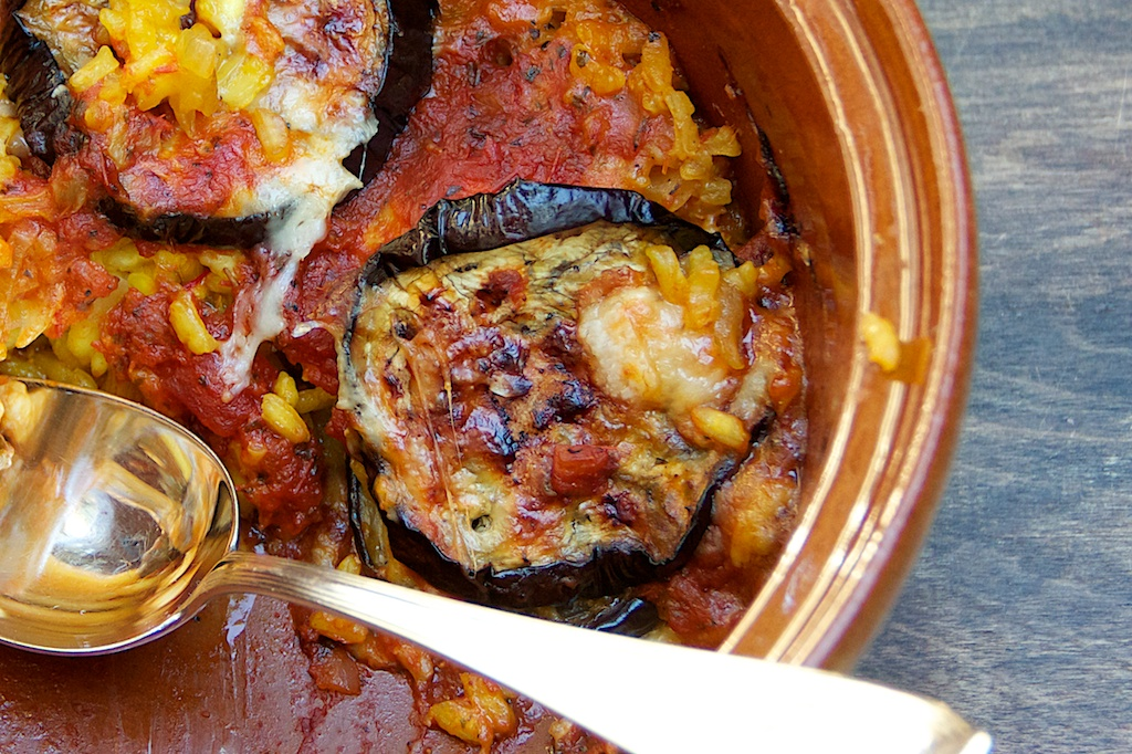 Eggplant, Mozzarella, And Saffron Rice Bake Recipe — Dishmaps
