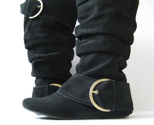 closet black suede boots monkey