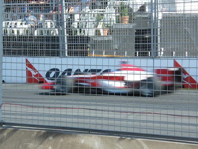 Speeding F1 car in blur