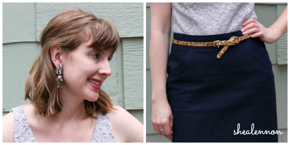 statement earrings, pencil skirt, leopard belt for date night | www.shealennon.com