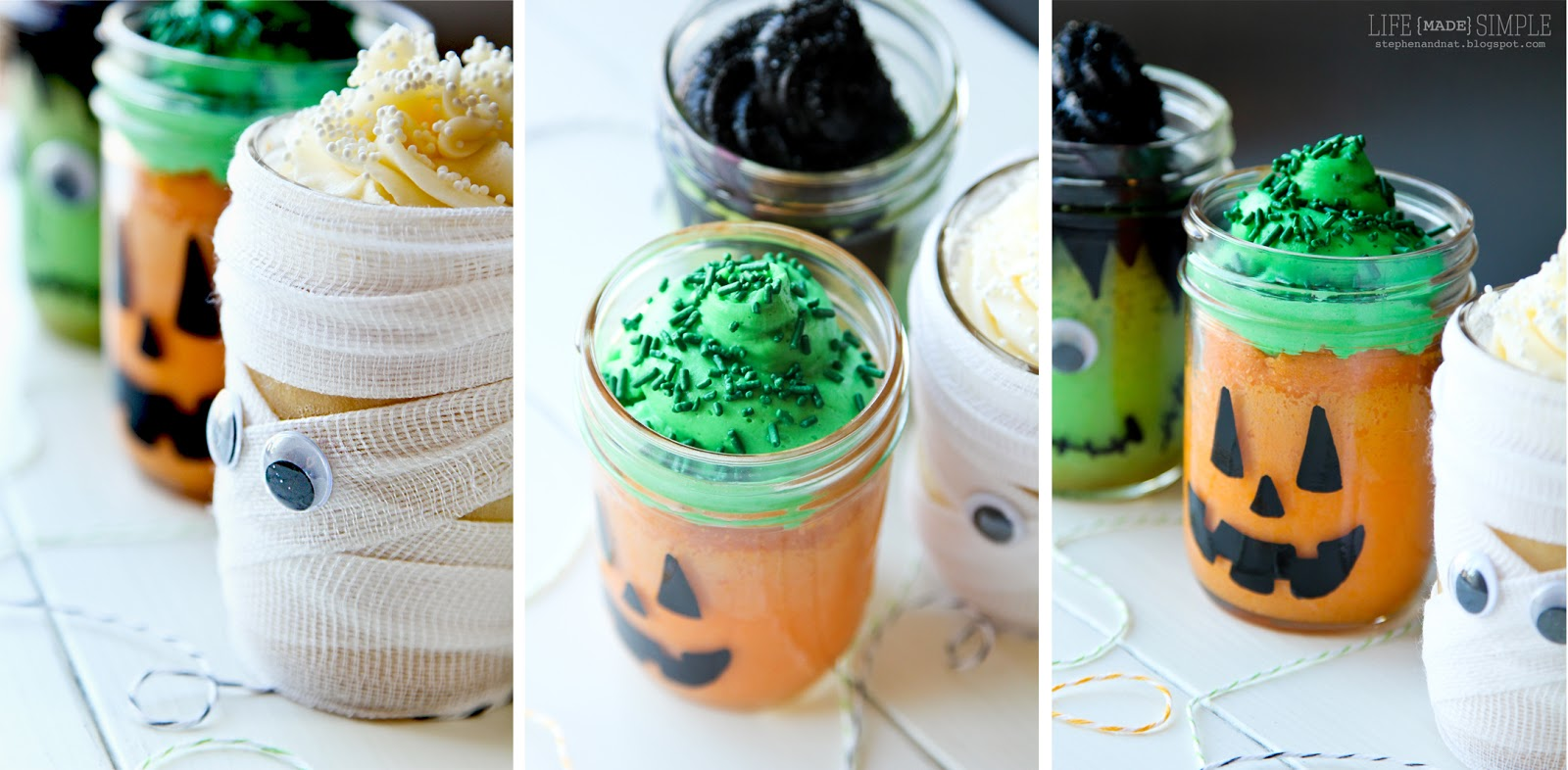 halloween themed mason jar mini cakes