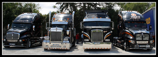 North American trucks parked near Francueil village near Blere, France
