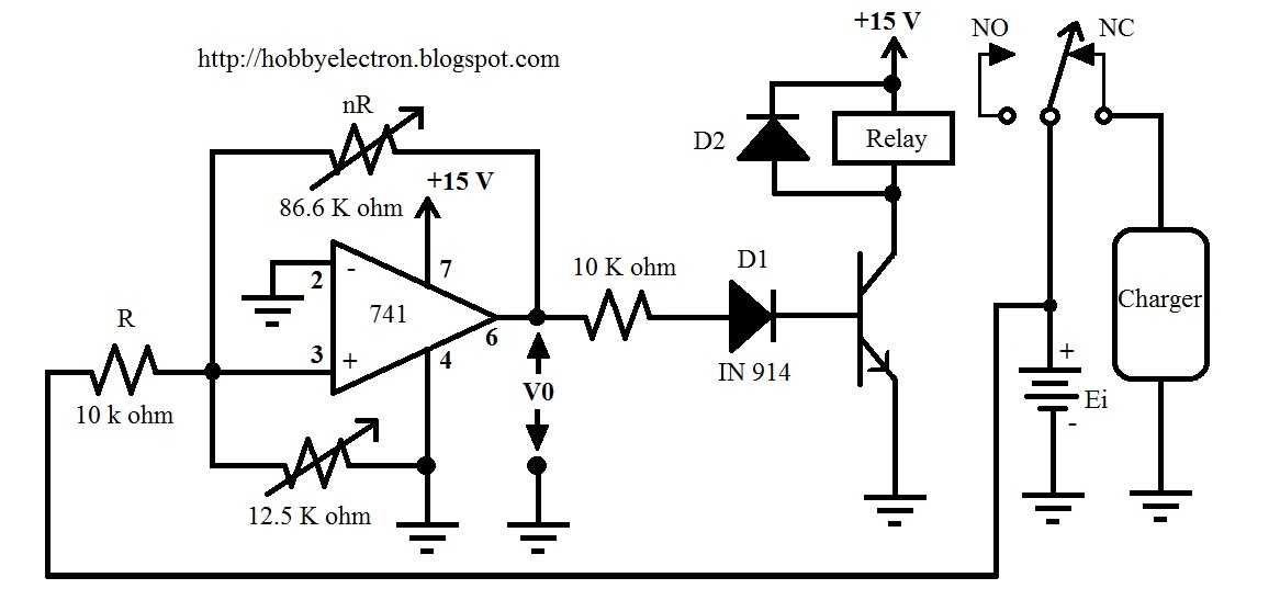 hobby in electronics  battery charger control circuit